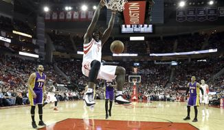 Houston Rockets' Montrezl Harrell (5) dunks against the Los Angeles Lakers during the second half of an NBA basketball game Wednesday, March 15, 2017, in Houston. The Rockets won 139-100. (AP Photo/David J. Phillip)