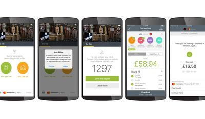 This photo provided by Mastercard demonstrates some of the new features of the Qkr with Masterpass mobile payments service. The upgrade being rolled out during the summer of 2017 will let people open, manage and close their tabs at participating bars and taverns completely through their phones, without having to hand over a credit card. (Courtesy of Mastercard via AP)