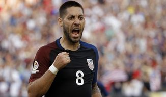 FILE - In this June 11, 2016, file photo, United States' Clint Dempsey reacts after scoring against Paraguay during the first half of a Copa America Group A soccer match in Philadelphia. Dempsey was selected for the U.S. roster by coach Bruce Arena on Wednesday, March 15, 2017, for the team's World Cup qualifiers against Honduras and Panama. (AP Photo/Matt Rourke, File)