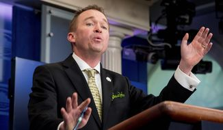 White House Budget Director Mick Mulvaney said President Trump is in a position to make unpopular decisions because he is not beholden to lobbyists or special interests. (Associated Press)