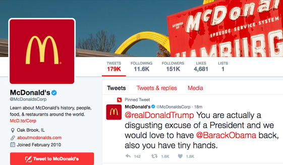 McDonald's Twitter account featuring a 'pinned' tweet insulting President Trump.