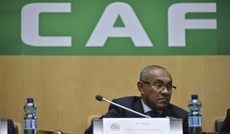 New president of the African soccer confederation Ahmad of Madagascar, attends the general assembly of the Confederation of African Football (CAF) in Addis Ababa, Ethiopia Thursday, March 16, 2017.  Issa Hayatou was voted out as president of the African soccer confederation on Thursday after 29 years in charge, losing to challenger Ahmad of Madagascar in a major shakeup for the sport on the African continent. (AP Photo)