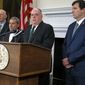 Republican Gov. Larry Hogan, second from right, announces plans to support a ban on hydraulic fracturing for natural gas in Maryland during a news conference in Annapolis, Md.,  Friday, March 17, 2017, giving a boost to legislation to ban the practice. From left to right, are: Del. Robert Flanagan, R-Howard; Sen. Robert Zirkin, D-Baltimore County; Hogan and Sen. Bryan Simonaire, R-Anne Arundel. (AP Photo/Brian Witte)