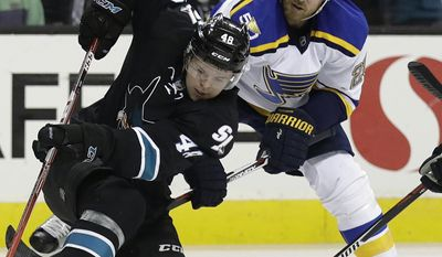 San Jose Sharks' Tomas Hertl, left, faces off against St. Louis Blues' Kyle Brodziak during the second period of an NHL hockey game Thursday, March 16, 2017, in San Jose, Calif. (AP Photo/Marcio Jose Sanchez)