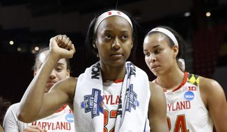 Maryland guard Shatori Walker-Kimbrough celebrates with teammates after a first-round game against Bucknell in the women's NCAA college basketball tournament in College Park, Md., Friday, March 17, 2017. Walker-Kimbrough contributed a game-high 28 points to Maryland's 103-61 win. (AP Photo/Patrick Semansky)