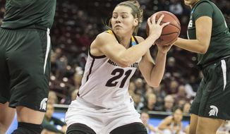 Arizona State forward Sophie Brunner (21) drives to the hoop against Michigan State during a first-round game in the women's NCAA college basketball tournament Friday, March 17, 2017, in Columbia, S.C. (AP Photo/Sean Rayford)