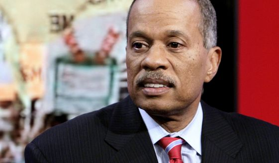 """Juan Williams appears on the """"Fox & Friends"""" television program in New York, Oct. 21, 2010. (AP Photo/Richard Drew) ** FILE **"""