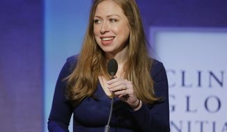 FilE - In this Sept. 19, 2016 file photo, Chelsea Clinton speaks at the Clinton Global Initiative in New York.  Clinton is joining the board of directors of online travel booking site Expedia. Documents filed with securities regulators say the daughter of defeated U.S. presidential candidate Hillary Clinton has joined its 14-member board. The company is controlled by Barry Diller. Chelsea Clinton is also a director of another company that Diller controls, IAC/InterActiveCorp. (AP Photo/Mark Lennihan, File)