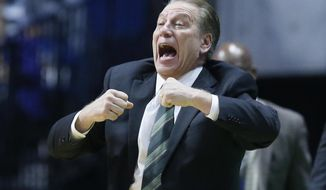 Michigan State head coach Tom Izzo gestures in the second half of a first-round game against Miami in the men's NCAA college basketball tournament in Tulsa, Okla., Friday, March 17, 2017. Michigan State won 78-58. (AP Photo/Sue Ogrocki)