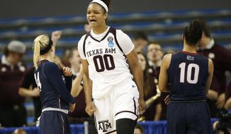 Texas A&M center Khaalia Hillsman celebrates after being fouled and still making her shot against Penn during the second half of a first-round game in the NCAA women's college basketball tournament, Saturday, March 18, 2017, in Los Angeles. (AP Photo/Danny Moloshok)