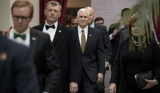 """FILE - In this Wednesday, March 15, 2017 file photo, Vice President Mike Pence arrives for a Republican conference at the Capitol in Washington. On Saturday, March 18, 2107, Pence addressed an audience in Florida, saying President Donald Trump is """"100 percent"""" supporting the Republican bill to replace the Affordable Care Act and calls it a """"step in the right direction."""" (AP Photo/Andrew Harnik)"""