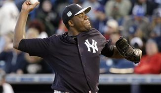 New York Yankees starting pitcher Michael Pineda throws against the Philadelphia Phillies in the fourth inning of a spring training baseball game, Wednesday, March 15, 2017, in Tampa, Fla. (AP Photo/John Raoux)