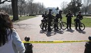 US Secret Service officers stand in the cordoned off Lafayette Park after a security incident near the fence of the White House in Washington, Saturday, March 18, 2017. President Trump was not at the White House at the time of the incident. (AP Photo/Alex Brandon)