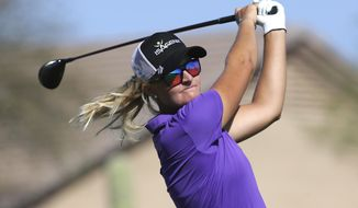 Anna Nordqvist, of Sweden, tees off on the eighth tee during the final round of a LPGA golf tournament on Sunday, March 19, 2017, in Phoenix, Ariz. (AP Photo/Rick Scuteri)