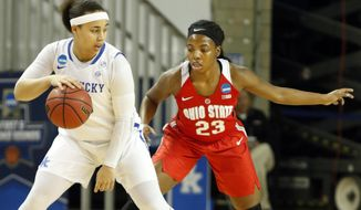 Ohio State's Kiara Lewis (23) defends as Kentucky's Makayla Epps looks for an opening during a second-round game in the women's NCAA college basketball tournament in Lexington, Ky., Sunday, March 19, 2017. (AP Photo/James Crisp)