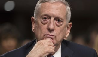 FILE - In this Jan. 12, 2017 file photo, then-Defense Secretary-designate James Mattis listens while testifying at his confirmation hearing before the Senate Armed Services Committee on Capitol Hill in Washington. In a White House with multiple competing power centers, Mattis, Homeland Security Secretary John Kelly and Joint Chiefs Chairman Joseph Dunford are emerging as a new force to be reckoned with. All three are have standing invitations to Trump's working dinners and were influential voices in Trump's decision-making process for a new national security adviser.  (AP Photo/J. Scott Applewhite, File)