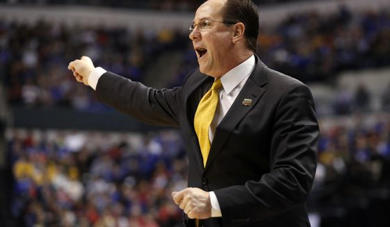Wichita State head coach Gregg Marshall yells from the sidelines during the first half of a second-round game against Kentucky in the men's NCAA college basketball tournament Sunday, March 19, 2017, in Indianapolis. (AP Photo/Jeff Roberson)