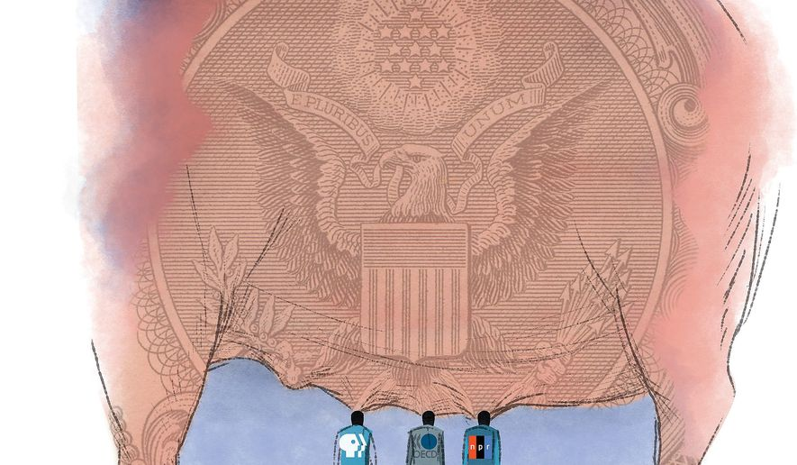 Illustration on Federal subsidies for the Corporation for Public Broadcasting by Linas GArsys/The Washington Times