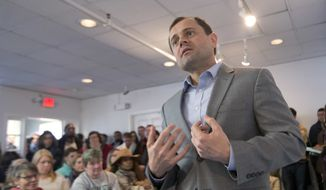 Democratic gubernatorial candidate, former Congressman Tom Perriello, gestures during a town hall in Richmond, Va., Wednesday, March 15, 2017. Perriello is running against Lt. Gov. Ralph Northam in June's primary. (AP Photo/Steve Helber) ** FILE **