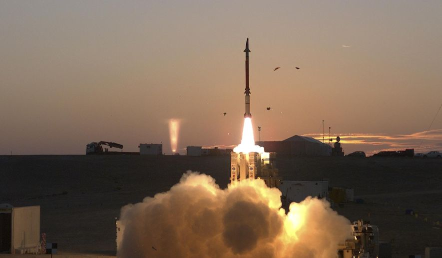 File - This Monday, Dec. 21, 2015 file photograph provided by the Israeli Ministry of Defense shows a launch of David's Sling missile defense system. A senior Israeli air force official says a joint U.S.-Israeli missile interceptor will be operational soon, completing the country's multi-layer defense system. He said Monday that David's Sling, meant to counter medium-range missiles possessed by Iranian-backed Hezbollah militants in Lebanon, will be operational in early April. (Ministry of Defense via AP, File)