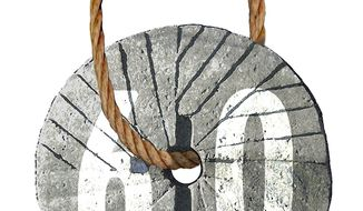 Illustration on the sixty vote threshold rule in the Senate by Alexander Hunter/The Washington Times