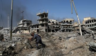 Iraqi forces are advancing against Islamic State militants in Mosul as representatives from 68 countries fighting the terrorist group converge on Washington for a two-day summit to discuss the road ahead. (Associated Press)