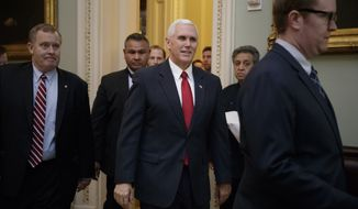 Vice President Mike Pence arrives for a strategy session on Capitol Hill in Washington, Tuesday, March 21, 2017, with Senate Majority Leader Mitch McConnell of Ky. and the GOP leadership. Earlier, President Donald Trump met with House Republicans earlier to rally support for the Republican health care bill. (AP Photo/J. Scott Applewhite)