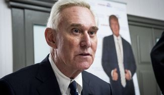 Roger J. Stone Jr., an adviser for President Donald J. Trump during the 2016 presidential campaign, speaks to members of the conservative group America First inside the Marriott in Boca Raton, Fla., on Tuesday, March 21, 2017. Stone defended himself over contacts he had with Russia-linked hackers during the 2016 election. (Michael Ares/The Palm Beach Post via AP)