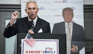 Roger J. Stone Jr., an adviser for President Donald J. Trump during the 2016 presidential campaign, speaks to members of the conservative group America First inside the Marriott in Boca Raton, Florida, on Tuesday, March 21, 2017. (Michael Ares/Palm Beach Post via AP) ** FILE **