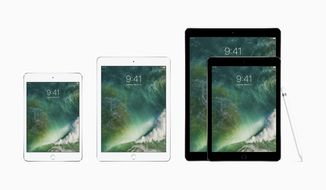 This photo provided by Apple shows the family of iPads, from left, the iPad mini 4, the new iPad, the 9.7-inch iPad Pro and the 12.9-inch one, along with the Apple Pencil. On Tuesday, March 21, 2017, Apple cut prices on two iPad models and introduced red iPhones, but the company held back on updating its higher-end iPad Pro tablets. (Apple via AP)
