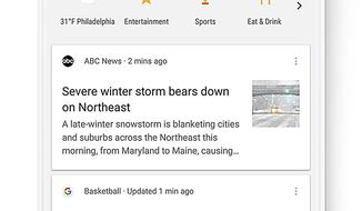 This image provided by Google shows a screen grab of a smartphone demonstrating the use of a new search feature by Google called Shortcuts. Shortcuts are a new row of icons that appear below the Google search box that can be tapped so people can see the latest weather in the area, movie times, suggestions on places to eat or scores of their latest teams without typing anything into the search box. (Google via AP)