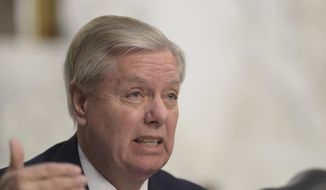 Senate Judiciary Committee member Sen. Lindsey Graham, R-S.C., questions Supreme Court Justice nominee Neil Gorsuch during the committee's confirmation hearing on Capitol Hill in Washington on March 21, 2017. (Associated Press) **FILE**