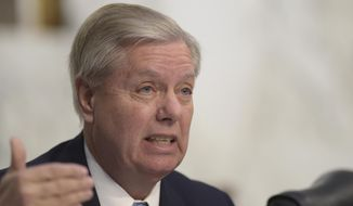 Senate Judiciary Committee member Sen. Lindsey Graham, R-S.C. questions Supreme Court Justice nominee Neil Gorsuch during the committee's confirmation hearing on Capitol Hill in Washington, Tuesday, March 21, 2017.  (AP Photo/Susan Walsh)