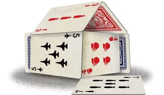 Military Buildup House of Cards Illustration by Greg Groesch/The Washington Times