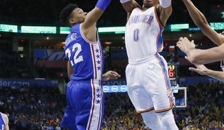 Oklahoma City Thunder guard Russell Westbrook (0) shoots in front of Philadelphia 76ers forward Richaun Holmes (22) during the first quarter of an NBA basketball game in Oklahoma City, Wednesday, March 22, 2017. (AP Photo/Sue Ogrocki)