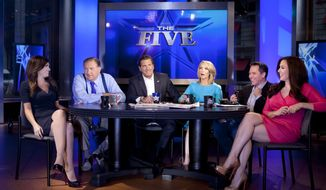 "From left, Kimberly Guilfoyle, Bob Beckel, Eric Bolling, Dana Perino, Greg Gutfeld and Andrea Tantaros co-hosts of Fox News Channel's ""The Five"" pose for a portrait in studio following a taping of the show Monday, July 1, 2013 in New York. (Photo by Carlo Allegri/Invision/AP Images) **FILE**"