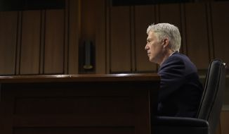Supreme Court Justice nominee Neil Gorsuch testifies on Capitol Hill in Washington, Wednesday, March 22, 2017, during his confirmation hearing before the Senate Judiciary Committee. (AP Photo/Susan Walsh)