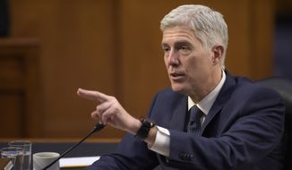 Supreme Court Justice nominee Neil Gorsuch testifies on Capitol Hill in Washington, Wednesday, March 22, 2017, during his confirmation hearing before the Senate Judiciary Committee. (AP Photo/Susan Walsh) ** FILE **