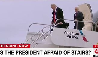CNN ran a segment questioning whether President Trump is afraid of stairs.