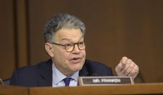 Senate Judiciary Committee member Sen. Al Franken, D-Minn. questions Supreme Court Justice nominee Neil Gorsuch on Capitol Hill in Washington, Wednesday, March 22, 2017, during Gorsuch's confirmation hearing before committee. (AP Photo/Susan Walsh) ** FILE **