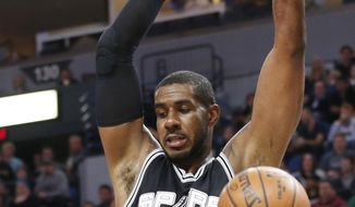 San Antonio Spurs' LaMarcus Aldridge dunks against the Minnesota Timberwolves during the first half of an NBA basketball game Tuesday, March 21, 2017, in Minneapolis. (AP Photo/Jim Mone)