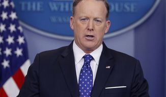 White House Press secretary Sean Spicer speaks to the media during the daily briefing in the Brady Press Briefing Room of the White House, in Washington, Wednesday, March 22, 2017. Spicer discussed the attacks at the British Parliament in London and other topics. (AP Photo/Pablo Martinez Monsivais)