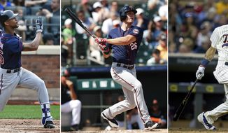 FILE - At left, in a Sept. 18, 2016, file photo, Minnesota Twins' Byron Buxton watches his fly ball against the New York Mets in the eighth inning of a baseball game in New York. At center, in a March 10, 2017, file photo, Twins' Max Kepler (26) bats in a spring training baseball game against the Miami Marlins in Jupiter, Fla. At right, in a Sept. 10, 2016, file photo, Twins' Eddie Rosario bats against the Cleveland Indians in the eighth inning of a baseball game in Minneapolis. the Minnesota Twins have the makings of a solid outfield for years to come. They've all got high-ceiling potential as hitters, but the most immediate benefit is the speed on defense that ought to help a beleaguered pitching staff. (AP Photo/File)