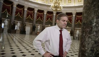 "Rep. Jim Jordan, R-Ohio, a key member and founder of the conservative Freedom Caucus, arrives for a TV interview on Capitol Hill in Washington, Thursday, March 23, 2017, as the GOP's long-promised legislation to repeal and replace ""Obamacare"" comes to a showdown vote. (AP Photo/J. Scott Applewhite) ** FILE **"