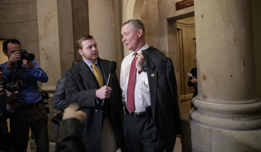 "Rep. Steve Stivers, R-Ohio, talks to a reporters as he leaves the office of House Speaker Paul Ryan on Capitol Hill in Washington, Thursday, March 23, 2017, after a meeting with other Republicans to rally support for GOP's long-promised legislation to repeal and replace ""Obamacare"" as it moves toward a showdown vote. (AP Photo/J. Scott Applewhite) ** FILE **"