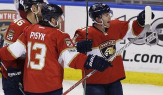 Florida Panthers center Jonathan Marchessault (81) celebrates with teammates, Mark Pysyk (13) and Jakub Kindl (46) after scoring a goal during the second period of an NHL hockey game, Thursday, March 23, 2017, in Sunrise, Fla. (AP Photo/Terry Renna)