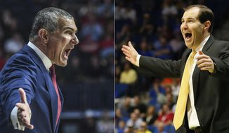 FILE - At left, in a March 4, 2017, file photo, South Carolina coach Frank Martin reacts during the team's NCAA college basketball game against Mississippi in Oxford, Miss. At right, in a March 19, 2017, file photo, Baylor head coach Scott Drew gestures in the first half of a second-round game against USC in the men's NCAA college basketball tournament in Tulsa, Okla. South Carolina and Baylor will meet in an NCAA college basketball tournament regional semifinal in New York on Friday, March 24. (AP Photo/File)