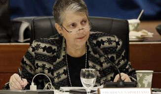 """FILE - In this Wednesday, Jan. 25, 2017 file photo, University of California President Janet Napolitano attends a University of California Board of Regents meeting, in San Francisco. Napolitano is crossing the border next week to send a """"strong and loud"""" message to Mexico, which she clearly hopes will resonate in Washington, that it is wrong to isolate America's neighbor. (AP Photo/Marcio Jose Sanchez, File)"""