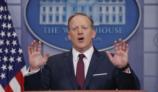 White House press secretary Sean Spicer speaks to the media during the daily briefing in the Brady Press Briefing Room of the White House in Washington, Friday, March 24, 2017. (AP Photo/Pablo Martinez Monsivais)