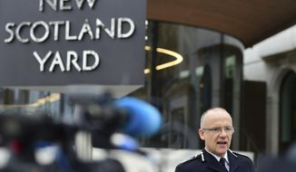 """Metropolitan Police counterterrorism chief Mark Rowley speaks to the media about the terrorist attack, outside New Scotland Yard in London, Friday March 24, 2017. London's top anti-terror officer says two more """"significant arrests"""" have been made in connection with the Westminster attack, in central and northern England.  (Lauren Hurley/PA via AP)"""